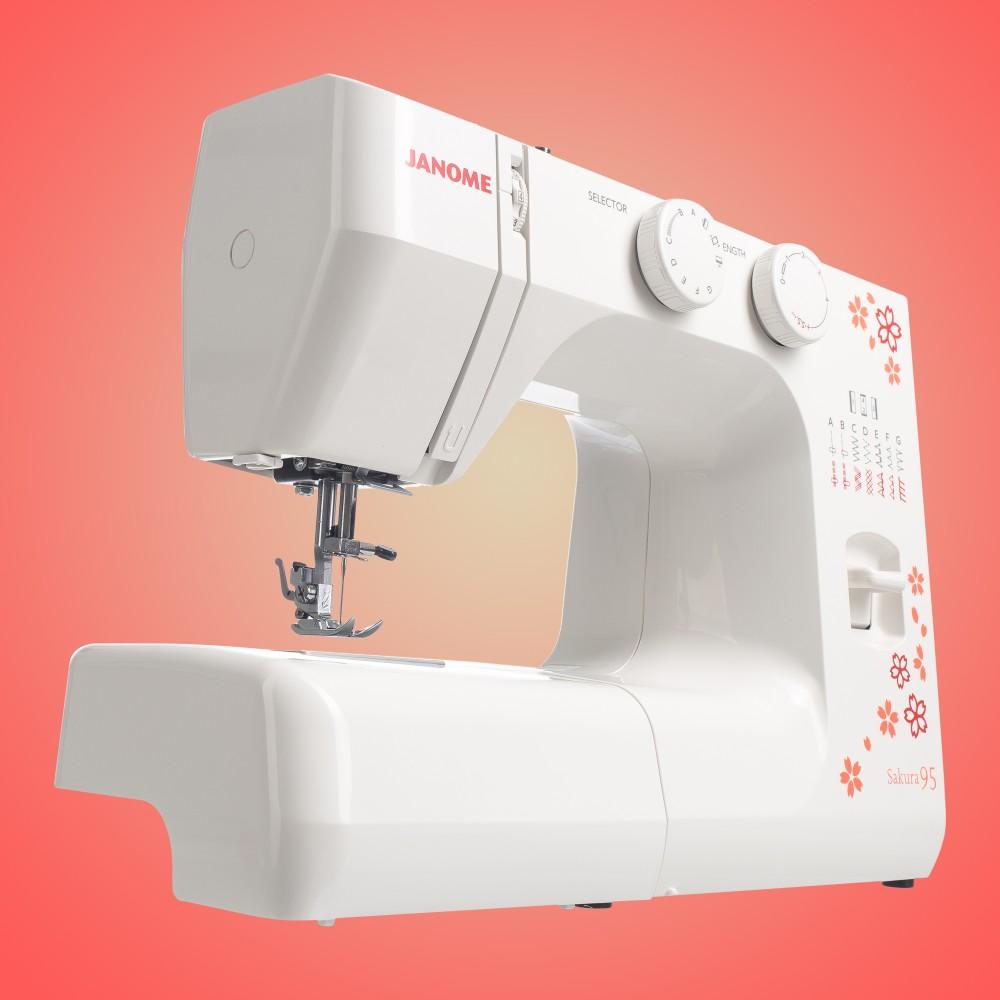 Masina de cusut electromecanica JANOME Sakura95, 15 Programe, 860 Imp/Min, 60W, Alb/Rosu