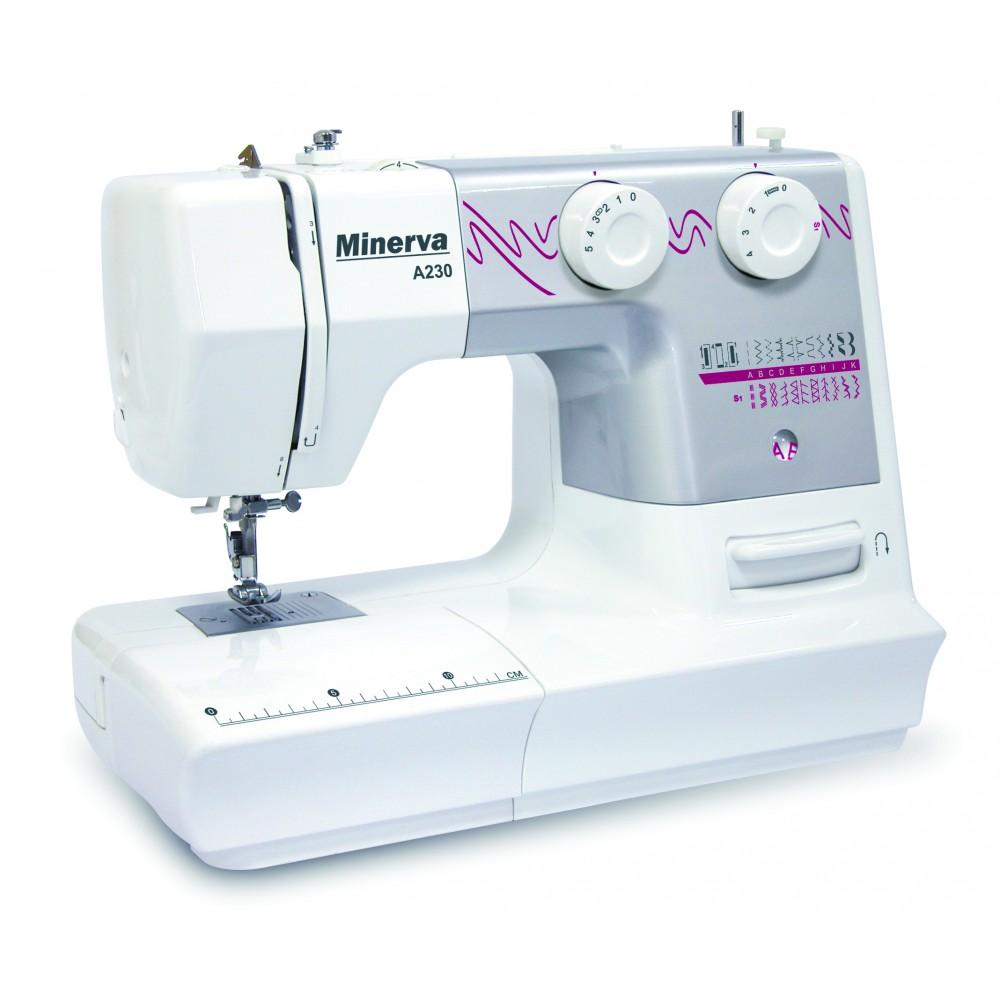 Masina de cusut electromecanica Minerva A230, 23 programe, 800 imp/min, 70W, Alb/Gri