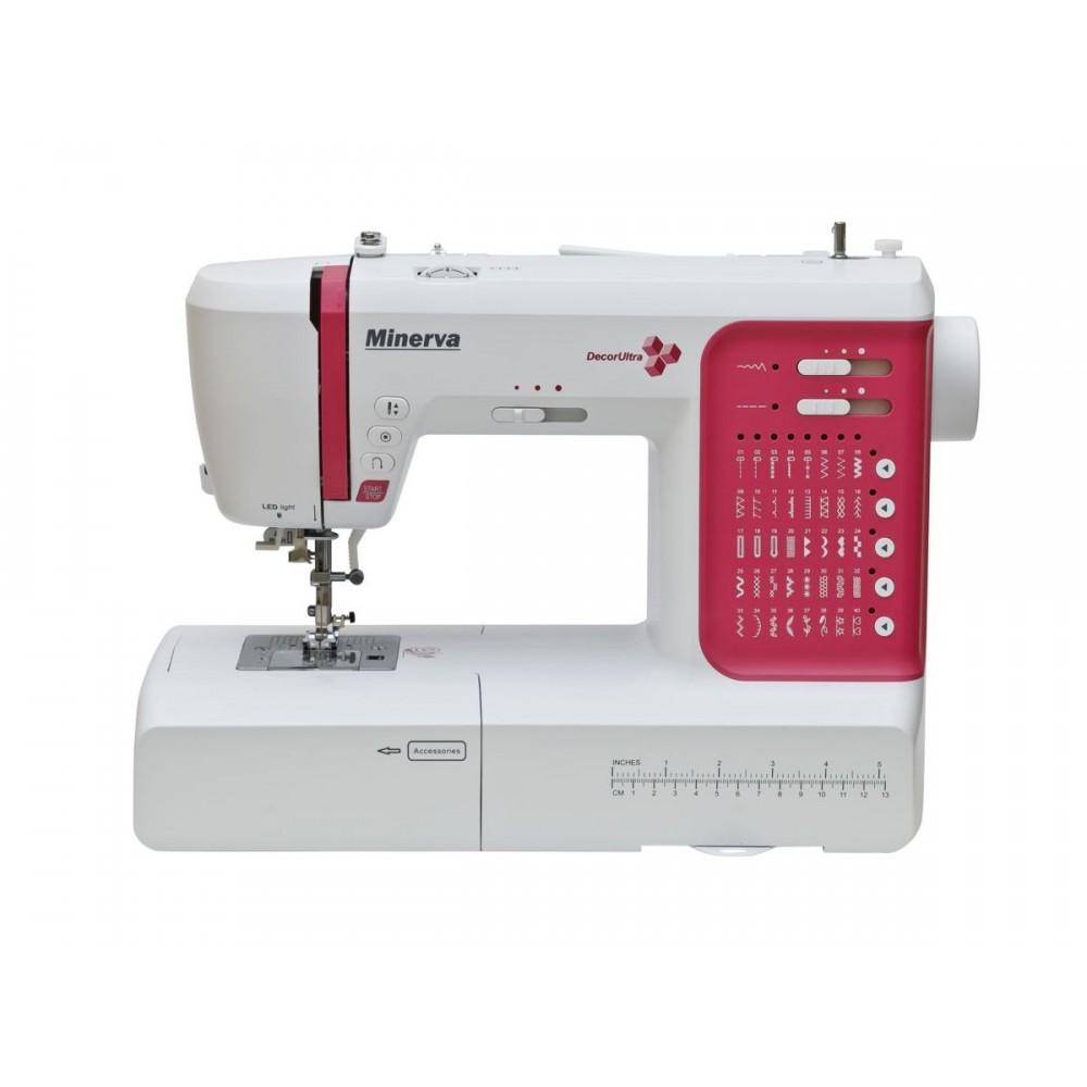 Masina de cusut digitala Minerva DECORULTRA, 40 programe, 800 imp/min, 70W, Alb/Rosu