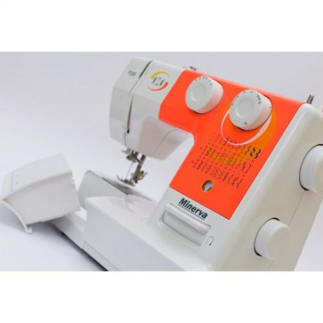 Masina de cusut electromecanica Minerva F320, 32 programe, 800 imp/min, 70W, Alb/Orange