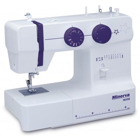 Masina de cusut electromecanica Minerva M20B, 10 programe, 800 imp/min, 85W, Alb/Mov