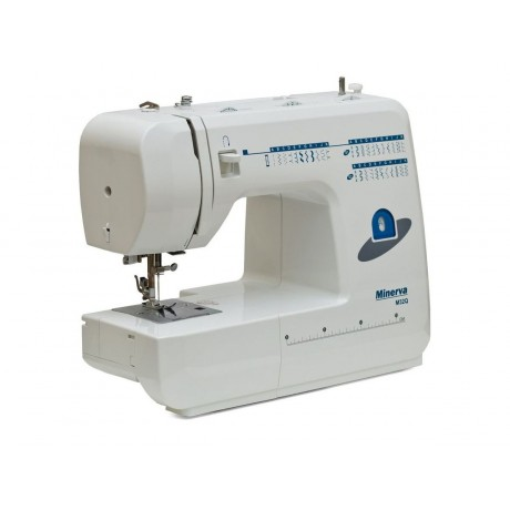 Masina de cusut electromecanica Minerva M32Q, 32 programe, 800 imp/min, 85W, Alb/Albastru