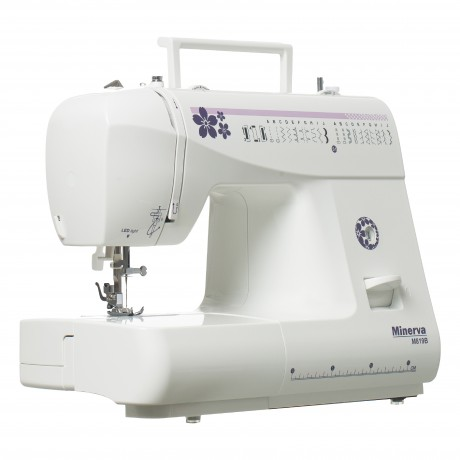 Masina de cusut electromecanica Minerva M819B Model 2020, 19 programe, 800 imp/min, 70W, Alb