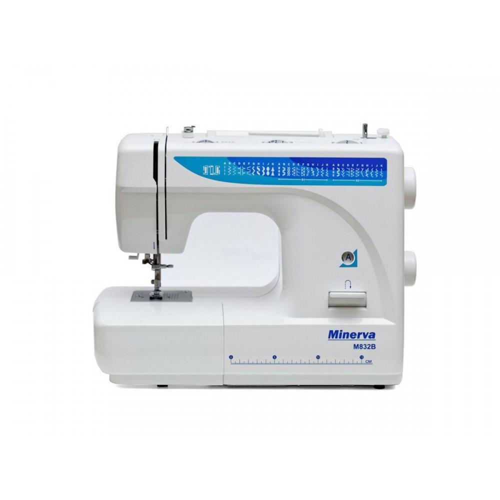 Masina de cusut electromecanica Minerva M832B, 32 programe, 800 imp/min, 85W, Alb/Albastru