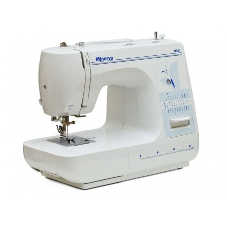 Masina de cusut electromecanica Minerva M921, 21 programe, 800 imp/min, 85W, Alb/Bleu