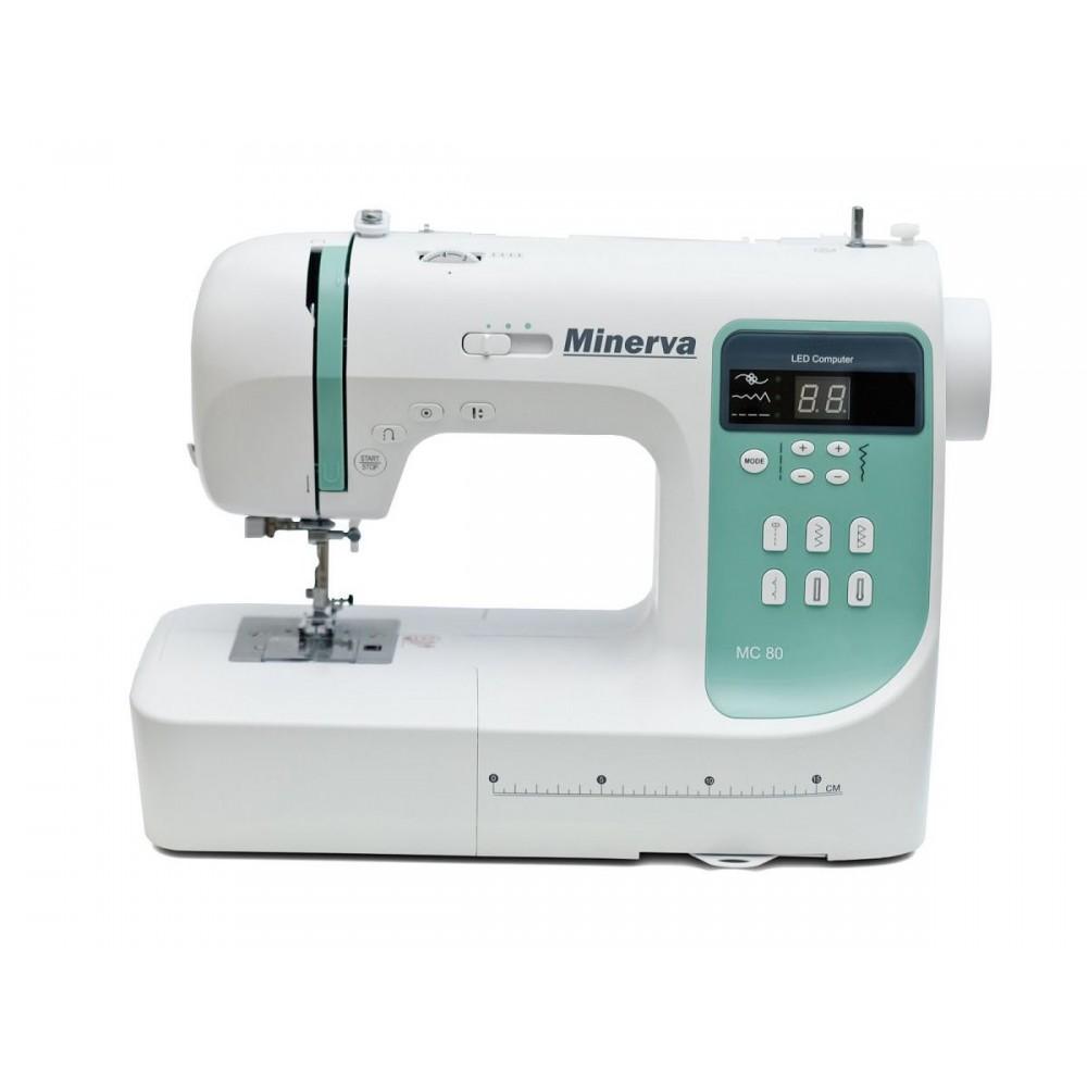 Masina de cusut digitala Minerva MC80, 80 programe, 800 imp/min, 70W, Alb/Turcoaz