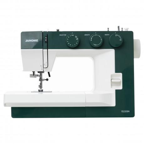 Masina de cusut electromecanica JANOME 1522GN, 25 Programe, 860 Imp/Min, 60W, Alb/Verde