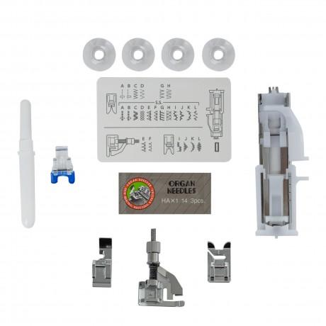 Masina de cusut electromecanica JANOME 1522RD, 25 Programe, 860 Imp/Min, 60W, Alb/Rosu