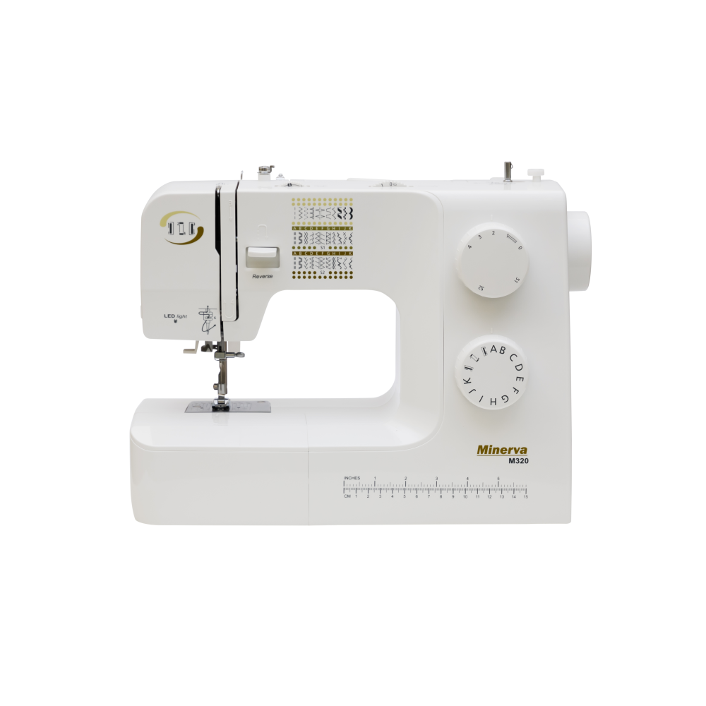 Masina de cusut electromecanica Minerva M320, model 2020, 34 programe, 800 imp/min, 70W, Alb