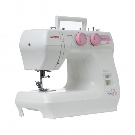 Masina de cusut electromecanica JANOME PINK12, 14 Programe, 860 Imp/Min, 60W, Alb/Roz